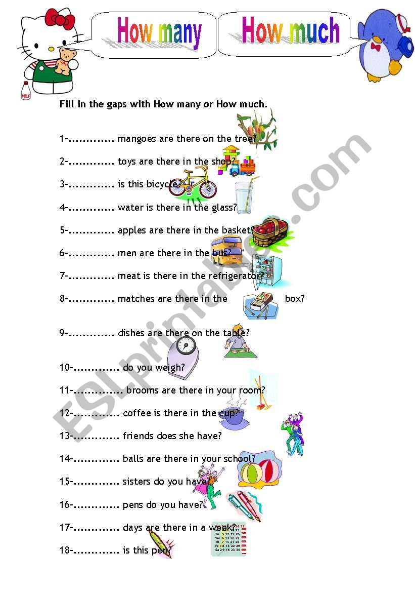 How Many, How Much (part 1) worksheet