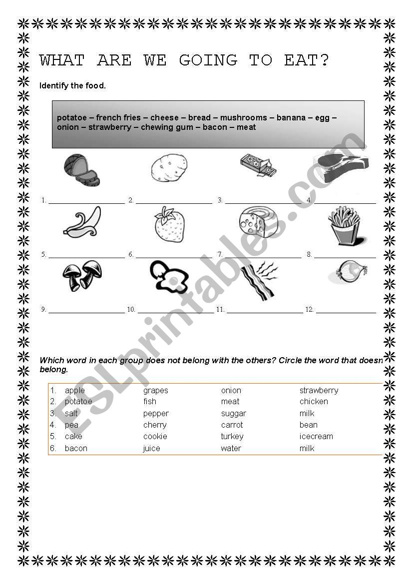 WHAT ARE WE GOING TO EAT? worksheet