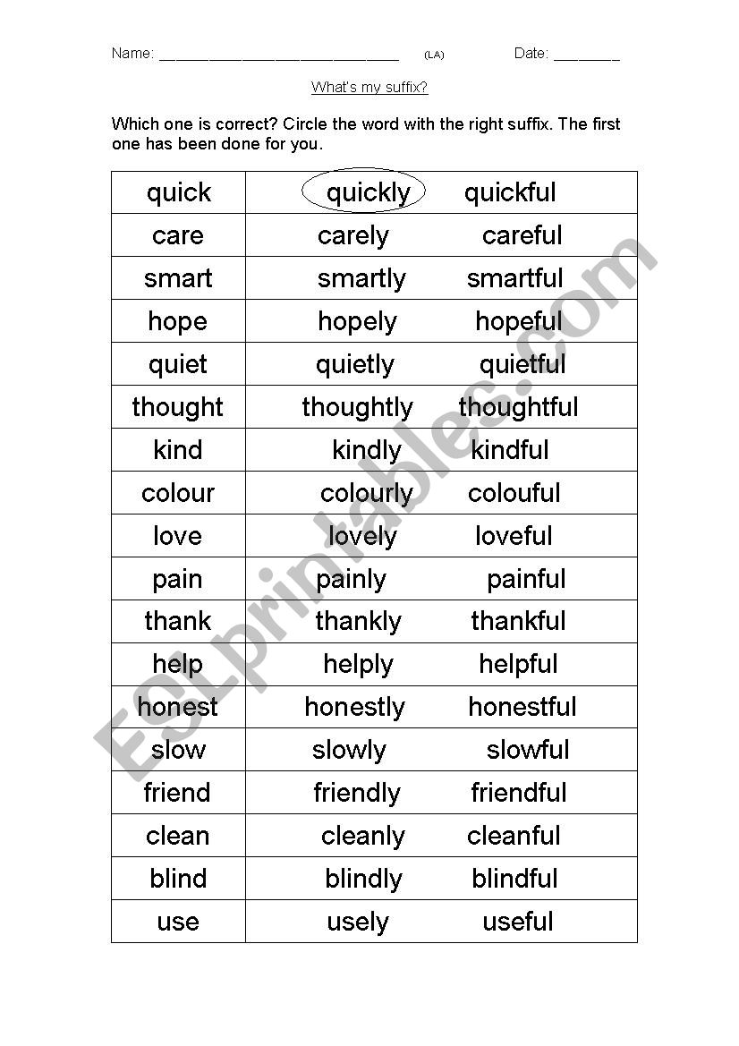 suffixes adverbs and adjectives