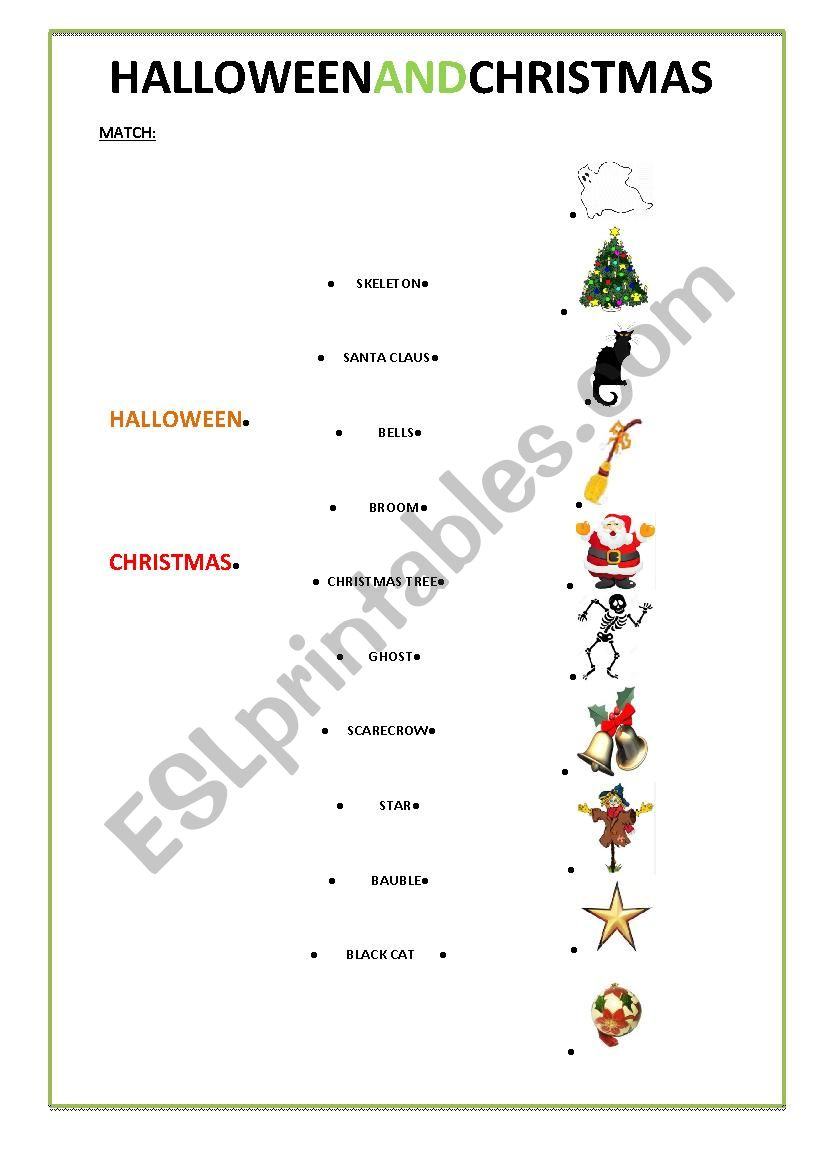 Christmas and Halloween vocabulary