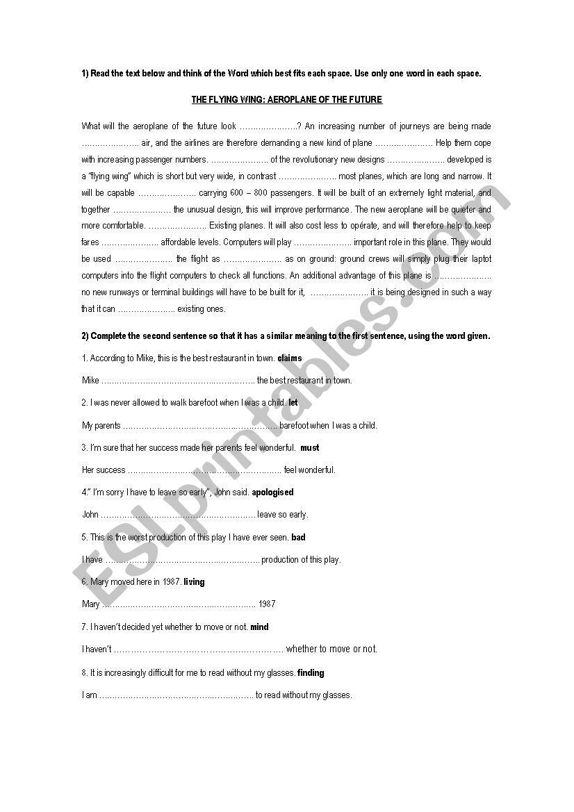 FIRST CERTIFICATE EXAM worksheet