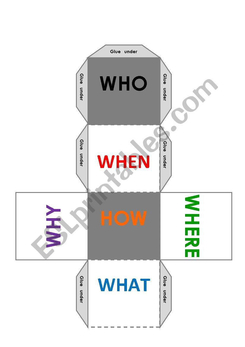 QUESTION DICE worksheet