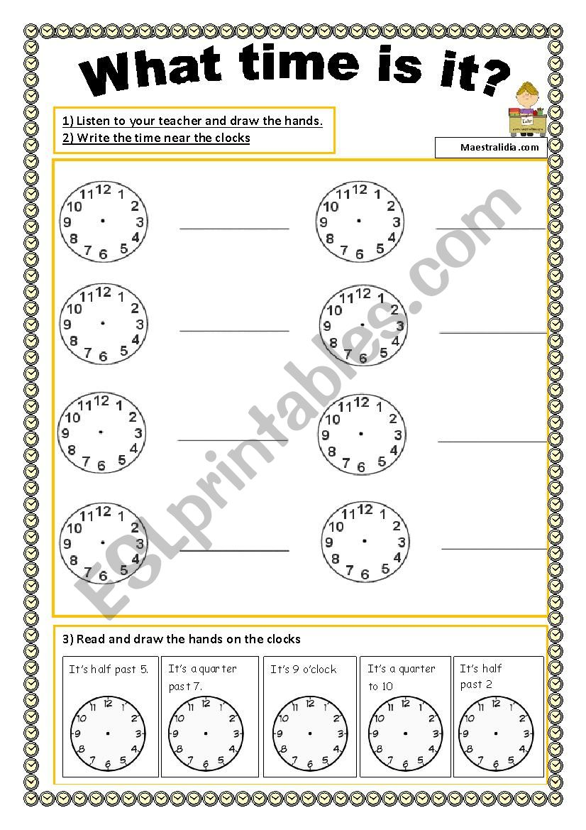 what time is it activities worksheet