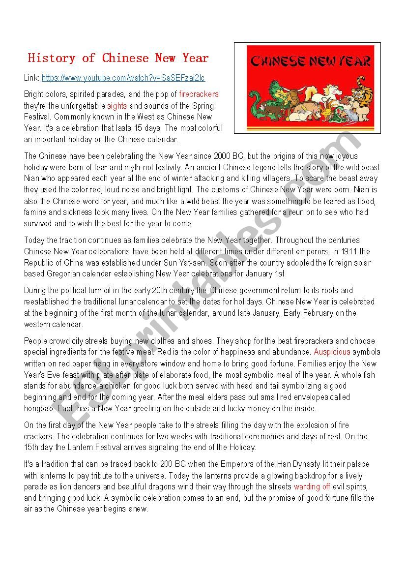 History of Chinese New Year worksheet