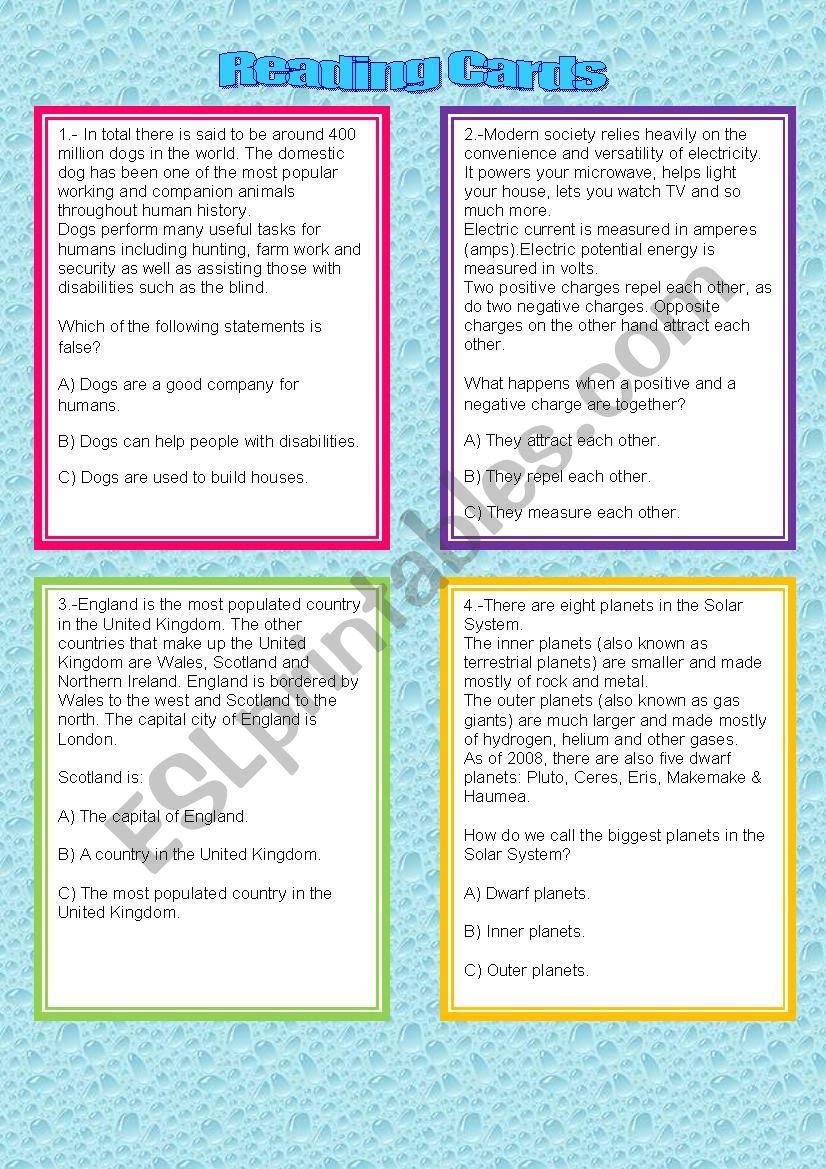 Reading Comprehension Cards worksheet