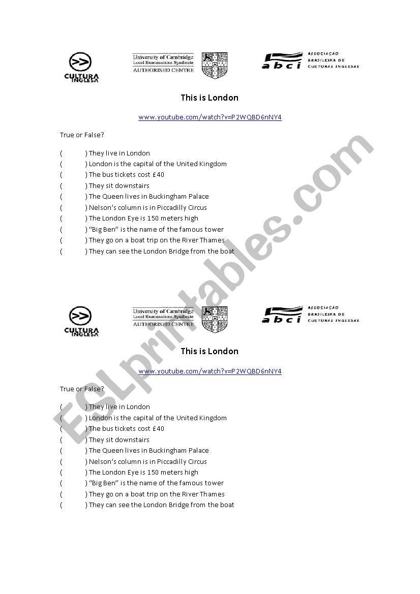 This is London worksheet