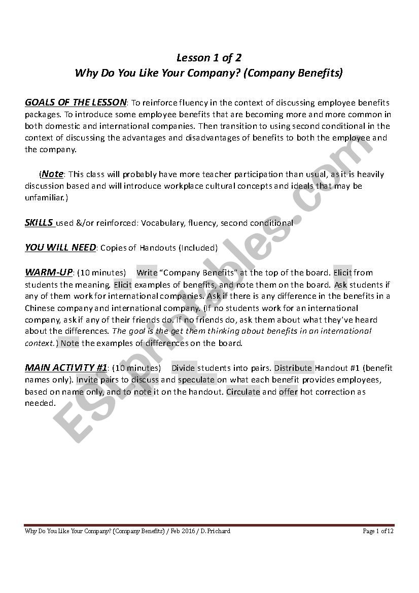 INTERMEDIATE TO ADVANCED BUSINESS ENGLISH - WHY DO YOU LIKE YOUR COMPANY (COMPANY BENEFITS)
