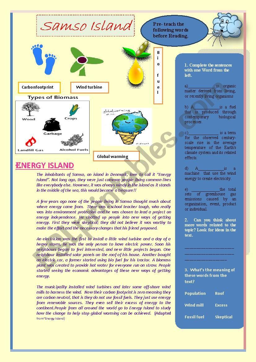 Energy Island worksheet