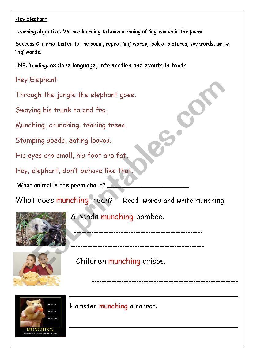 Elephant Poem worksheet