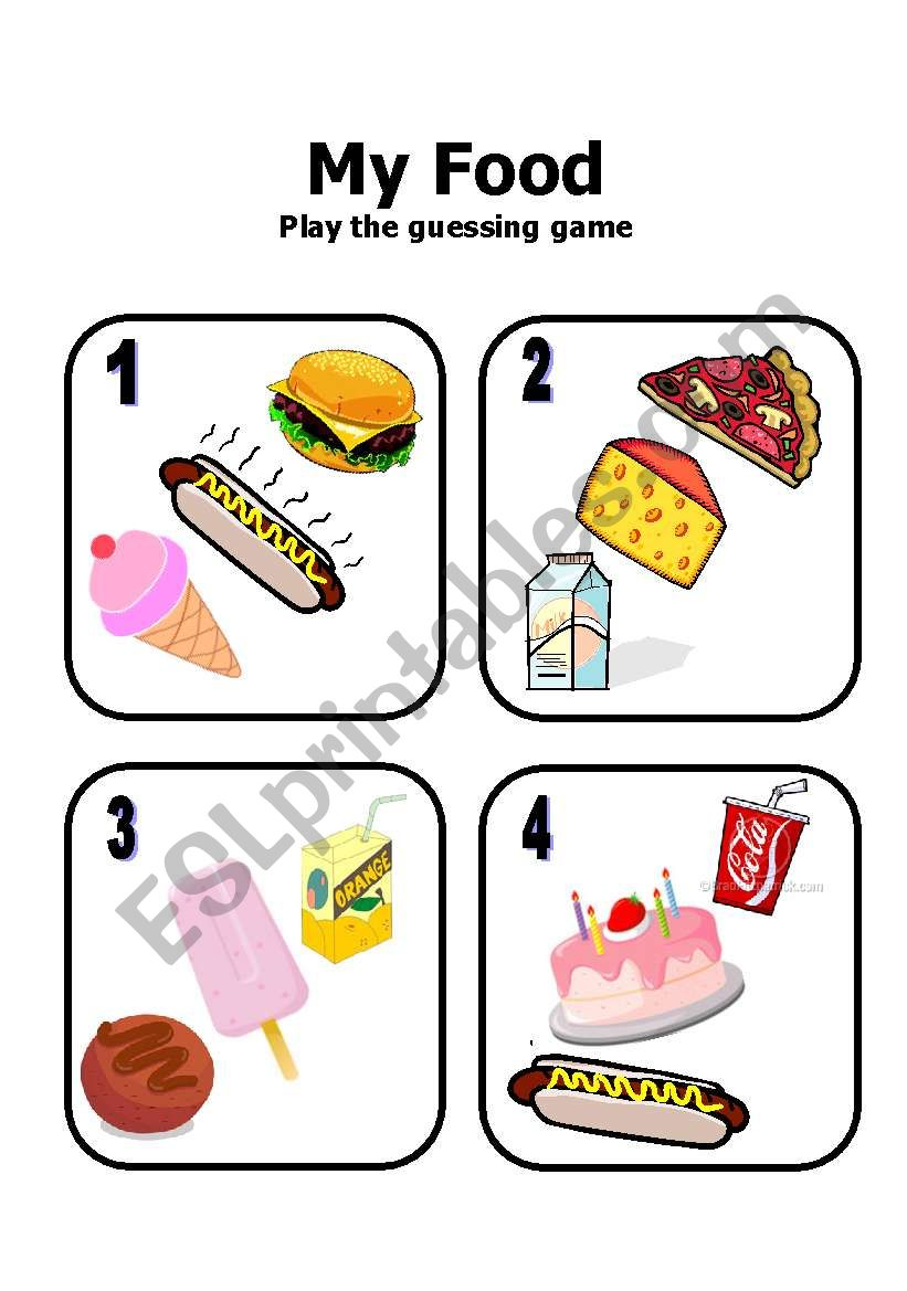 Guessing Game cards worksheet