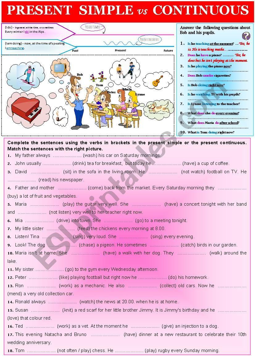 Grammar PRESENT SIMPLE vs CONTINUOUS  + exercices