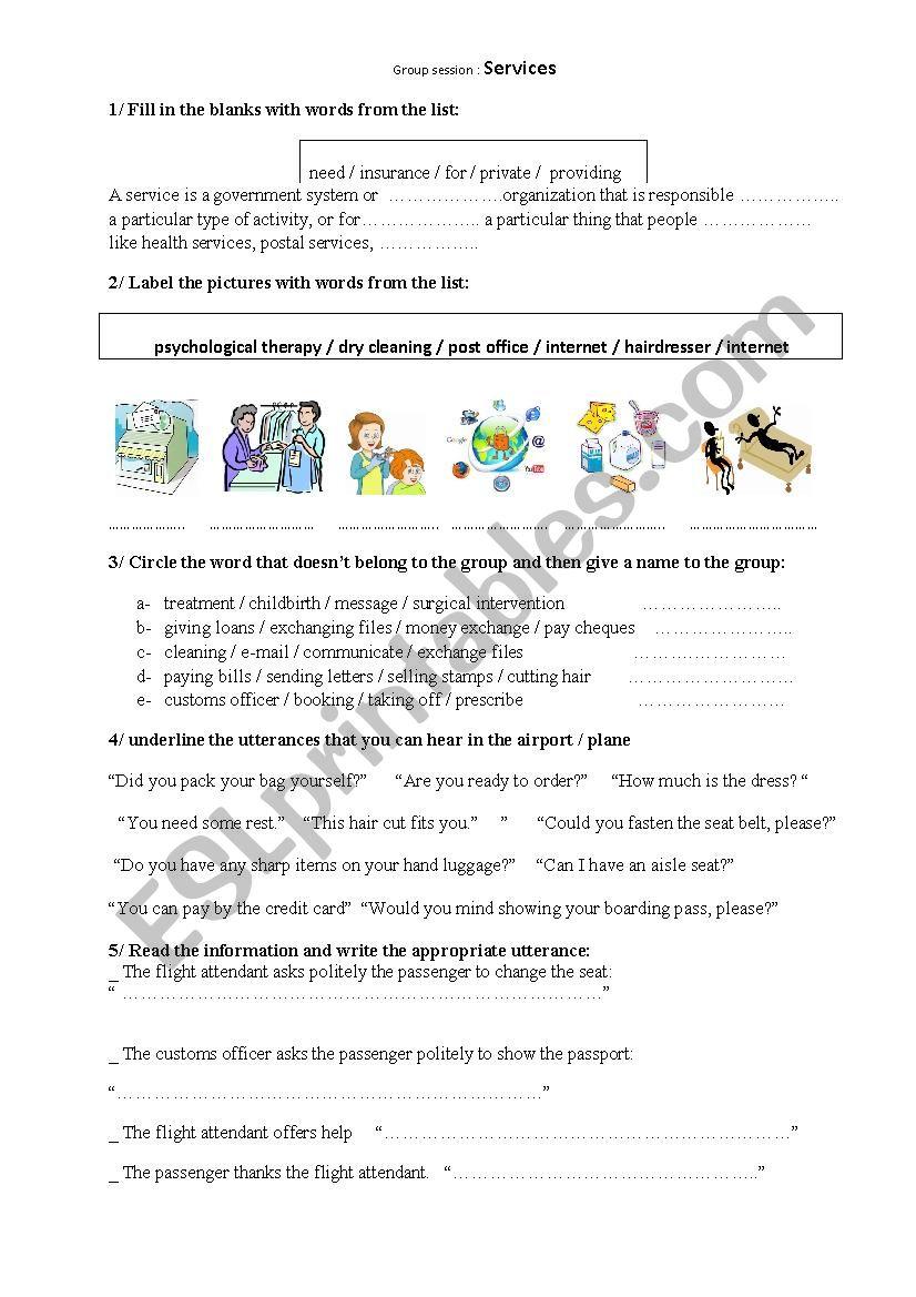 services worksheet