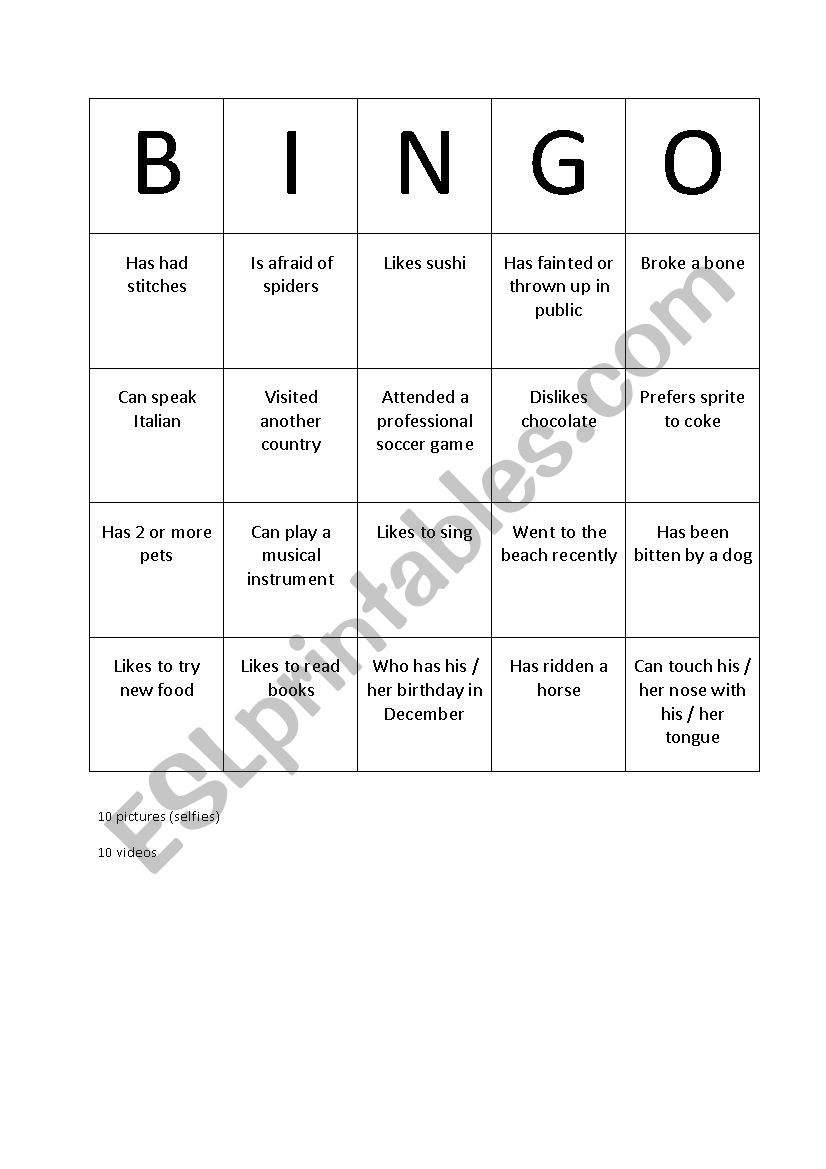 Bingo conversation find someone who