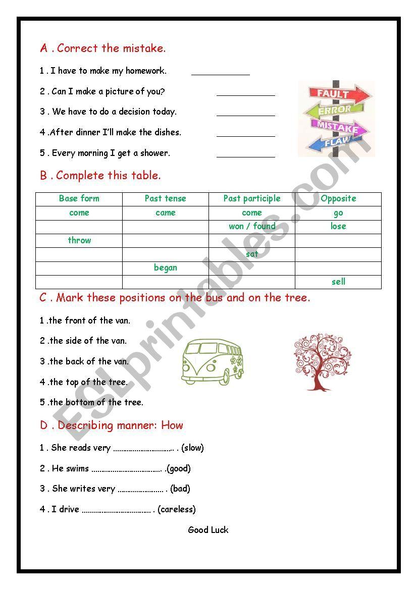 Correct the mistake worksheet