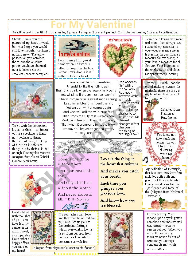 Valentines and Love Letters--Identify the verb tenses