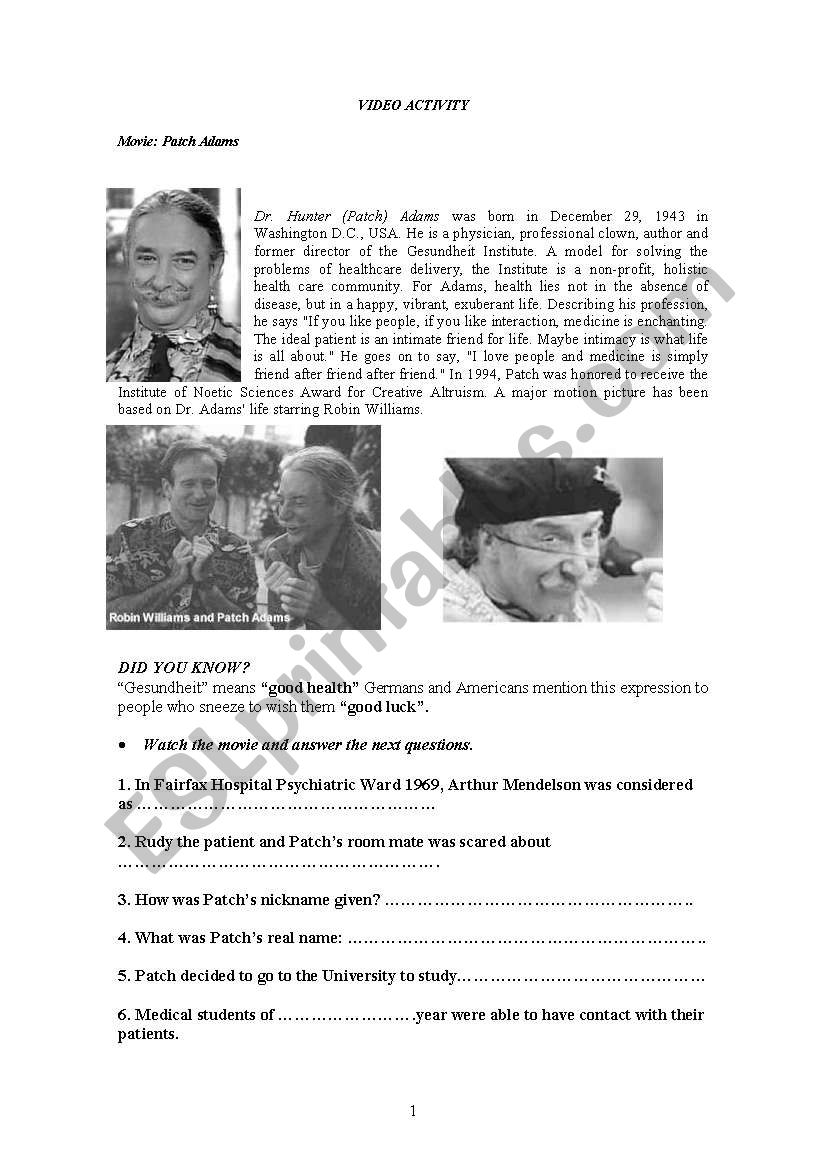 Patch Adams - ESL worksheet by mailito