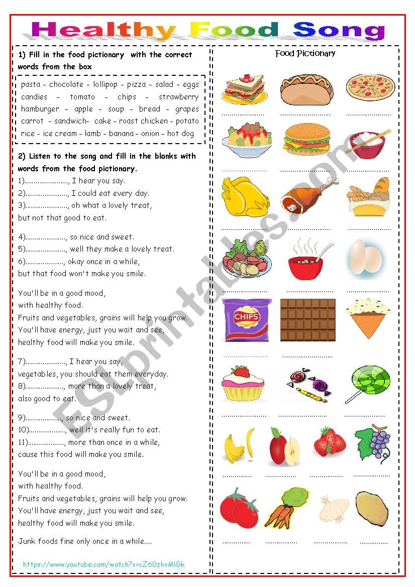 Healthy Food Song worksheet