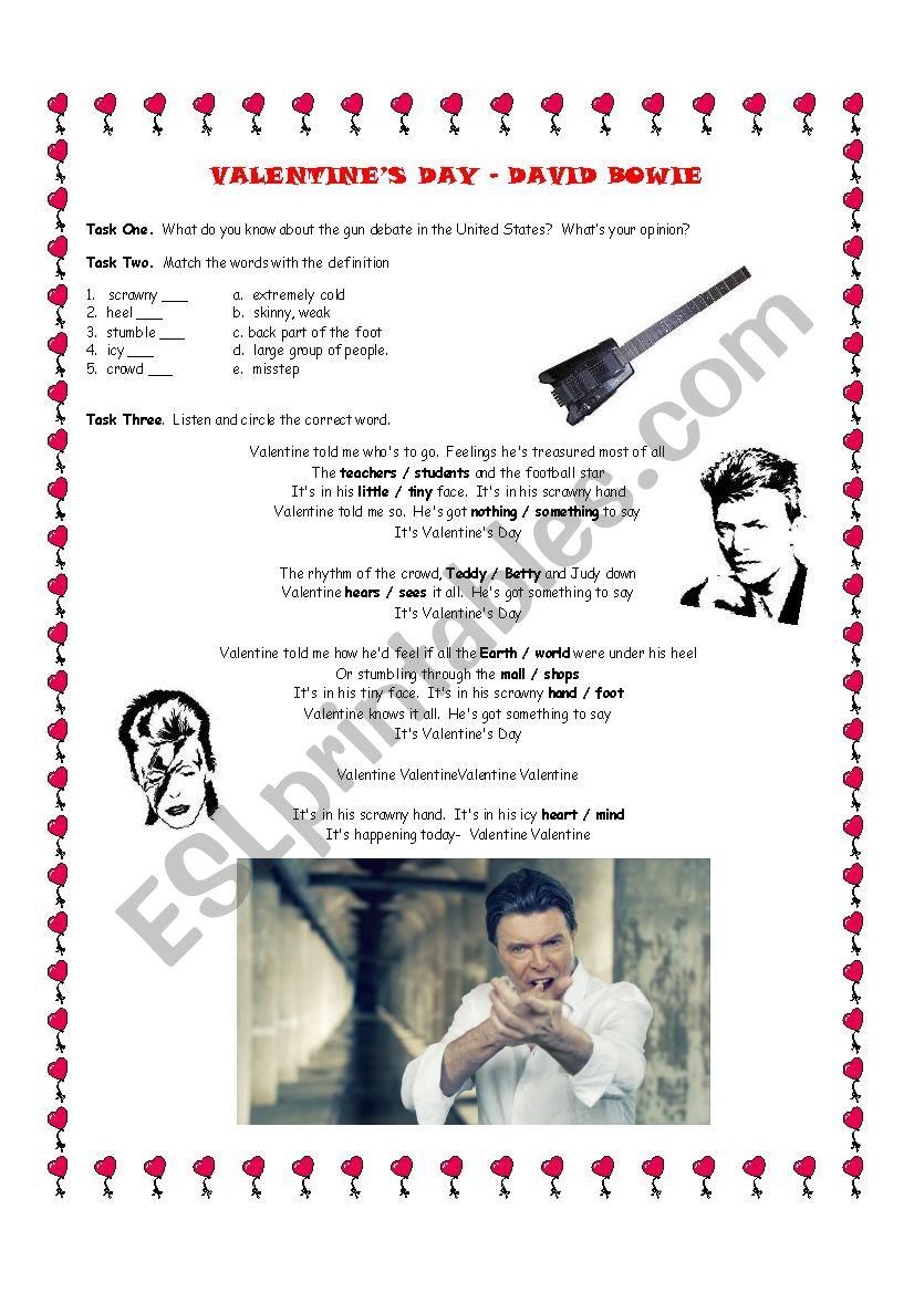 Valentine´s Day David Bowie worksheet
