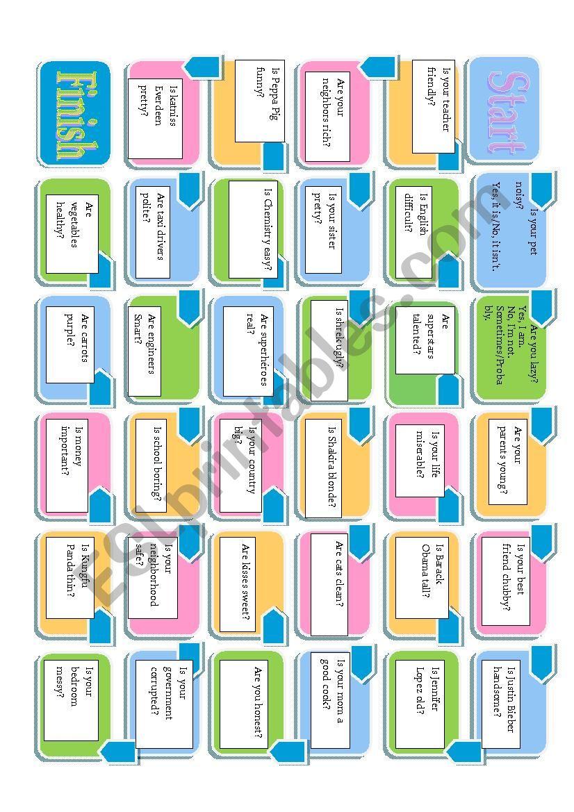 easy verb to be boardgame worksheet