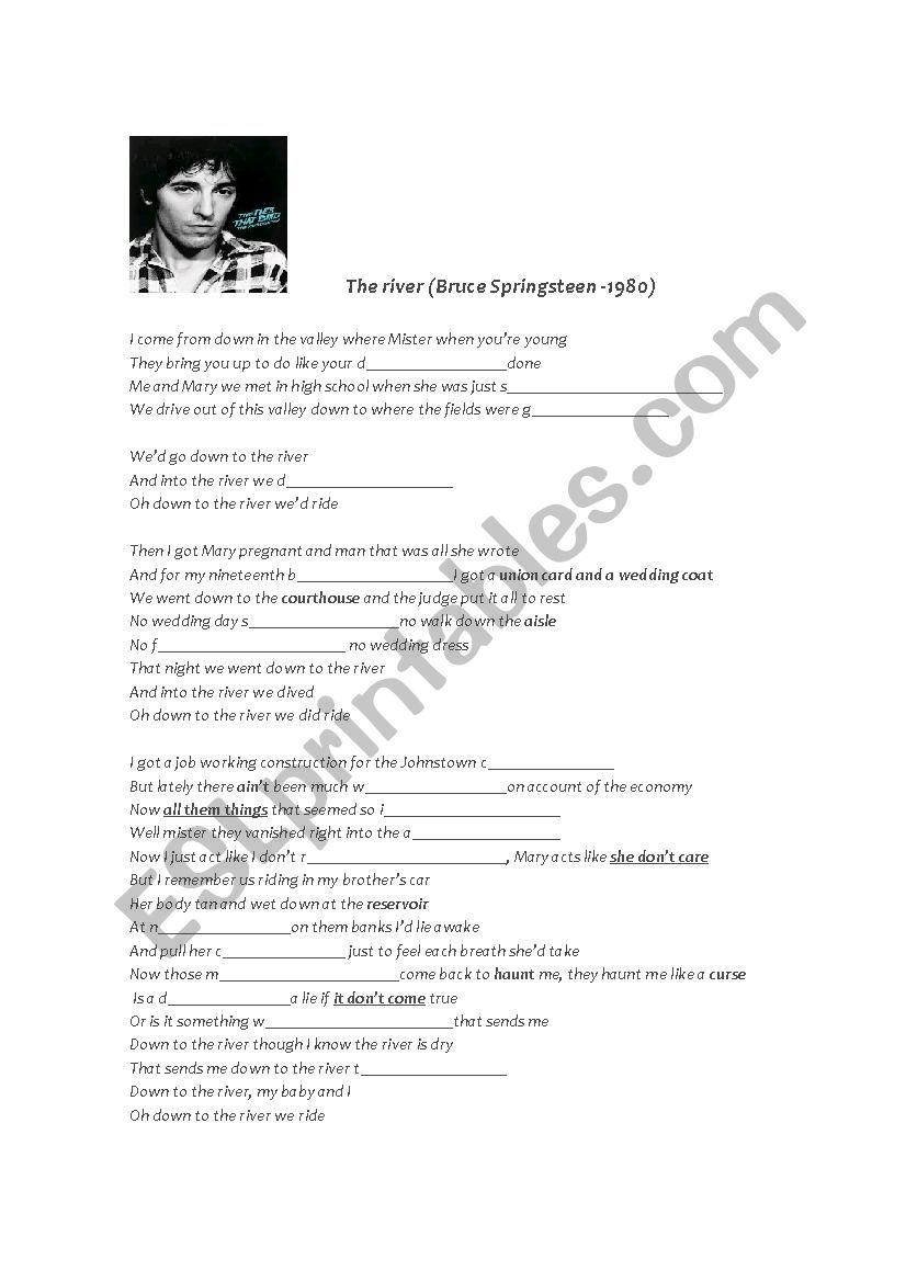 The River (Bruce Springsteen) worksheet