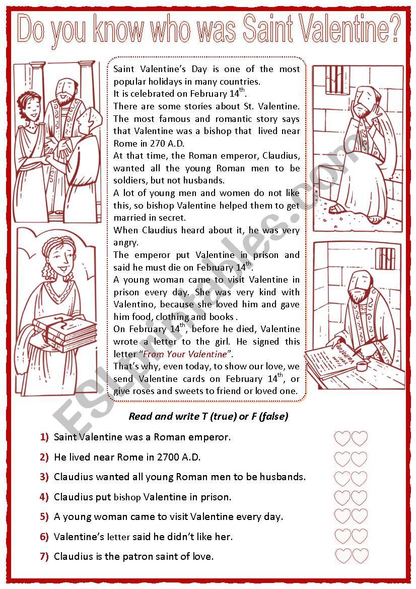 Who was Saint Valentine worksheet