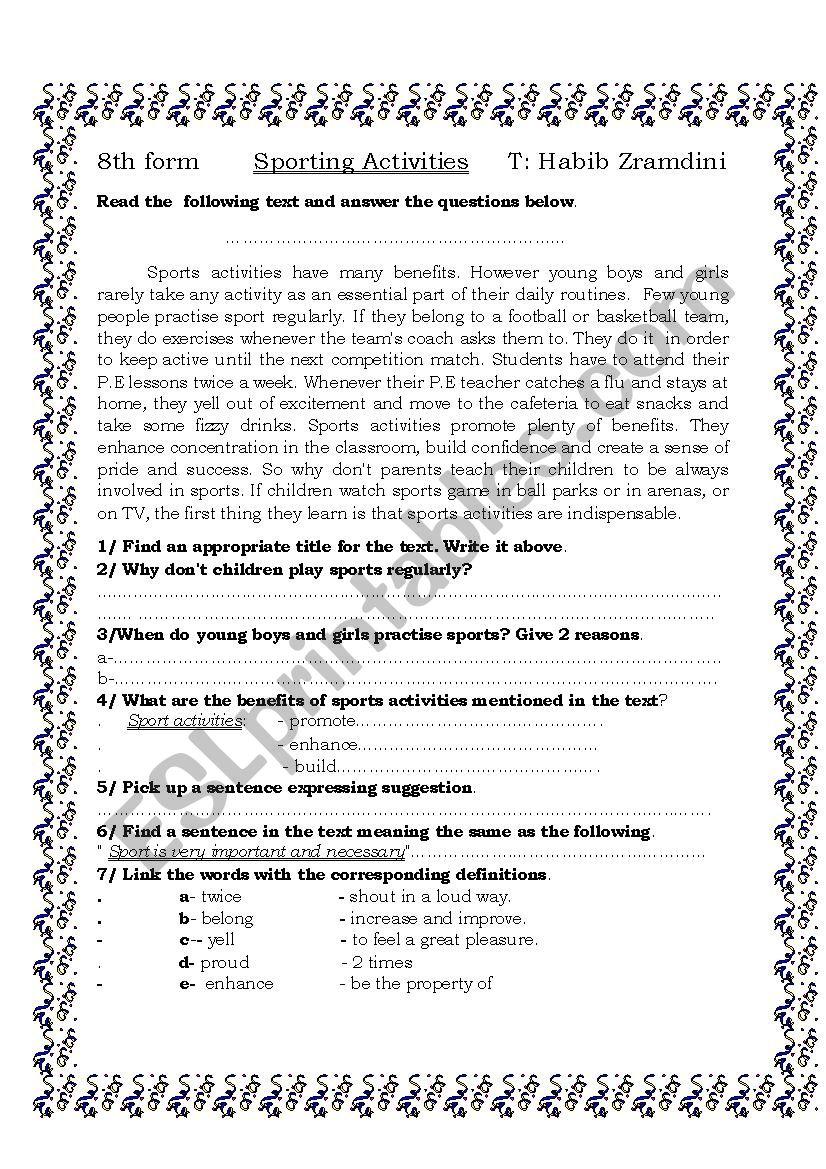 sporting activities worksheet