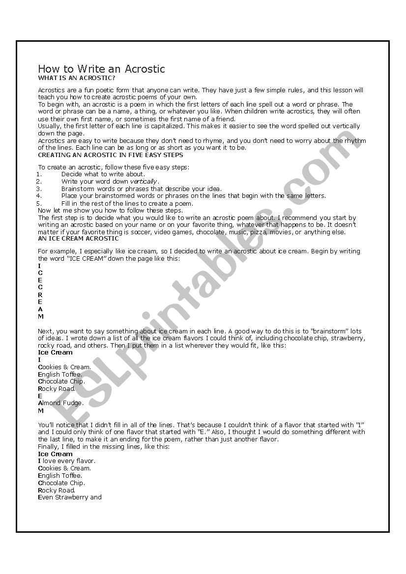 picture about Acrostic Puzzles Printable titled How in direction of compose an acrostic - ESL worksheet via dougdoug77