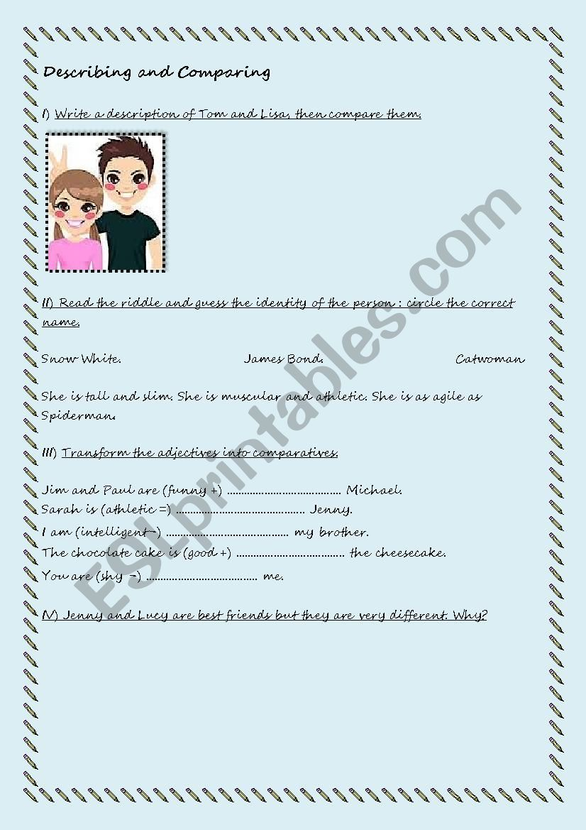 Let´s describe and compare worksheet