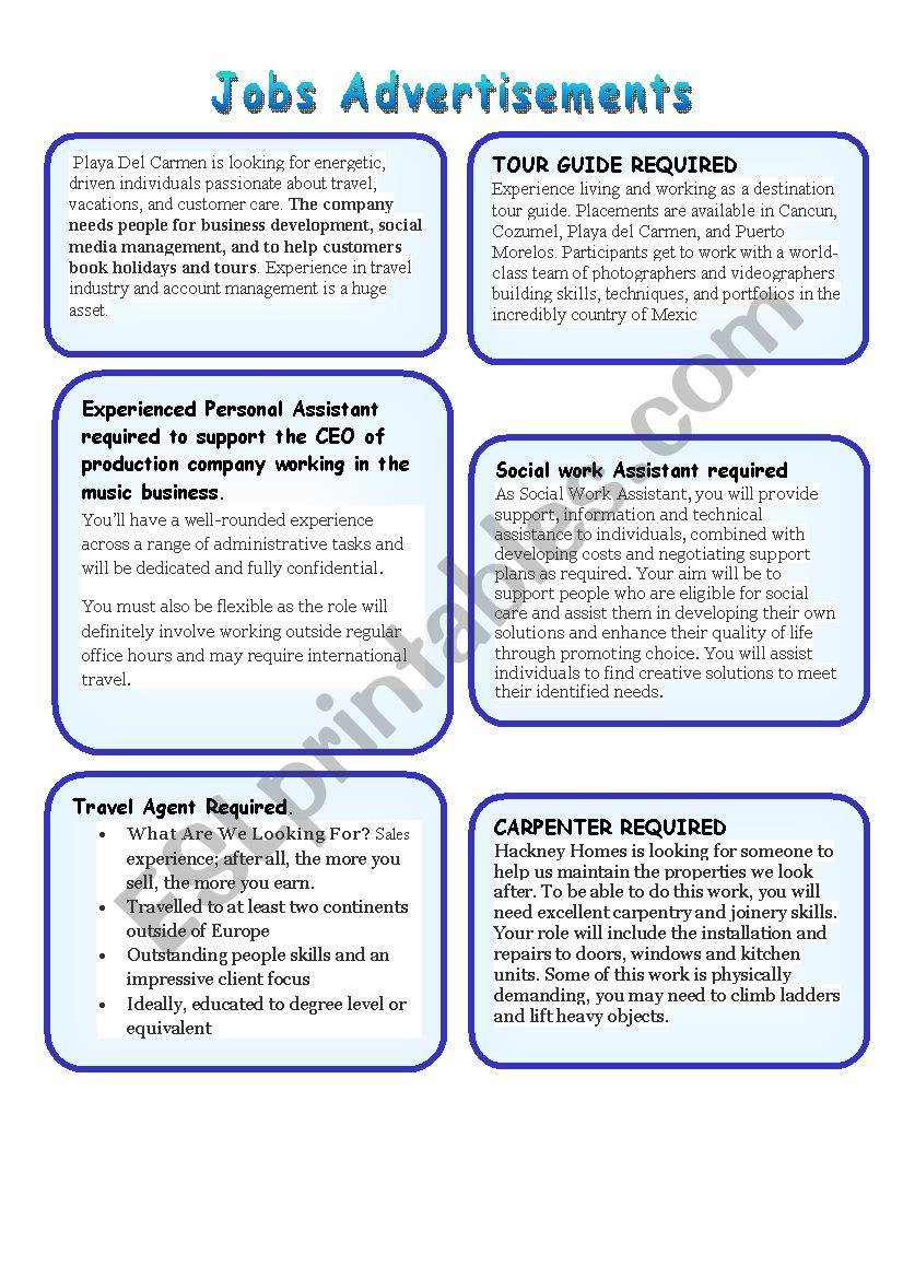 Job Advertisements worksheet