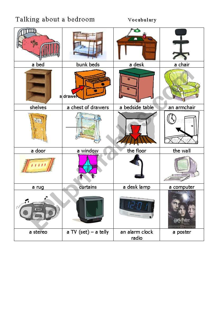 In A Bedroom Vocabulary Esl Worksheet By Feenanou