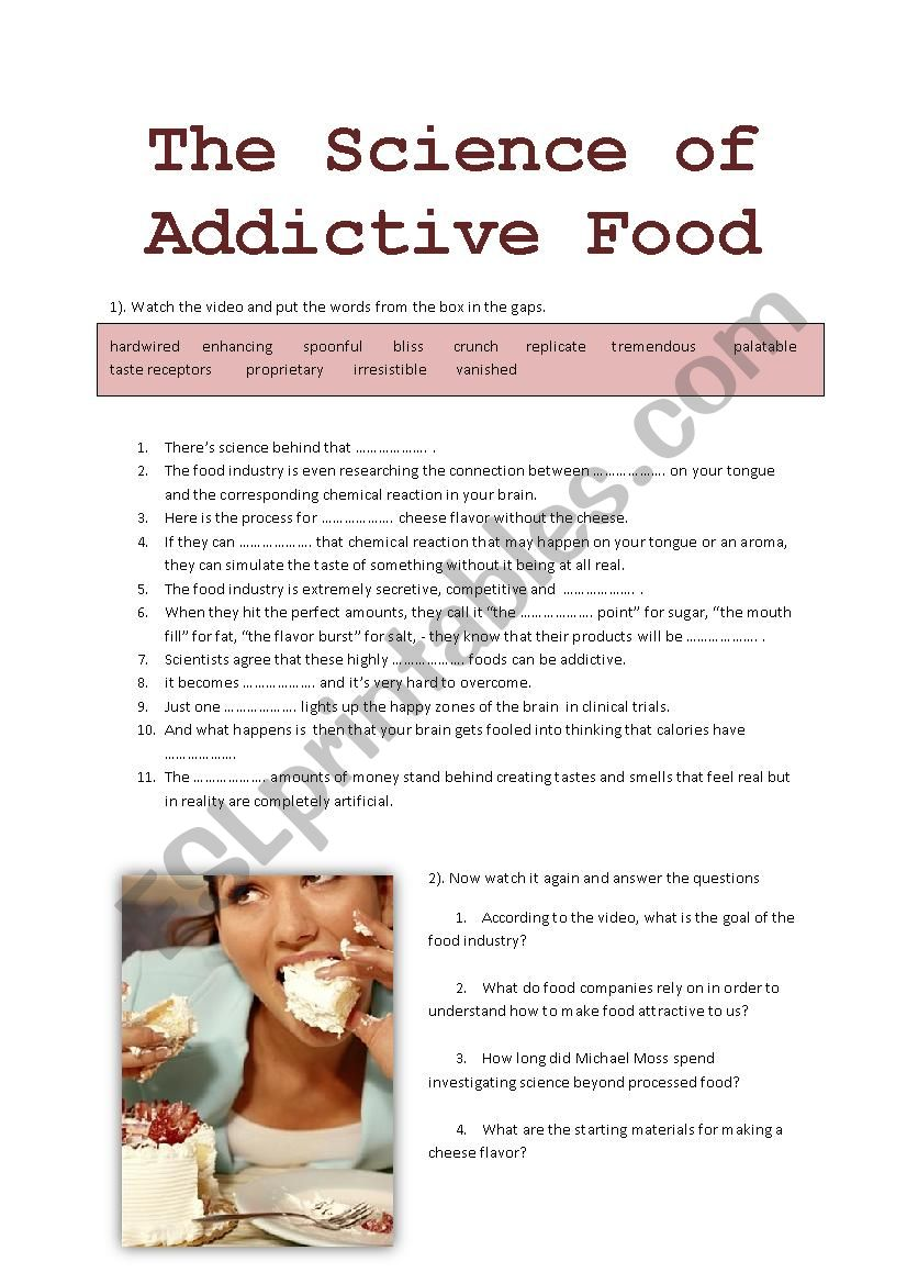 The Science of Addictive Food worksheet