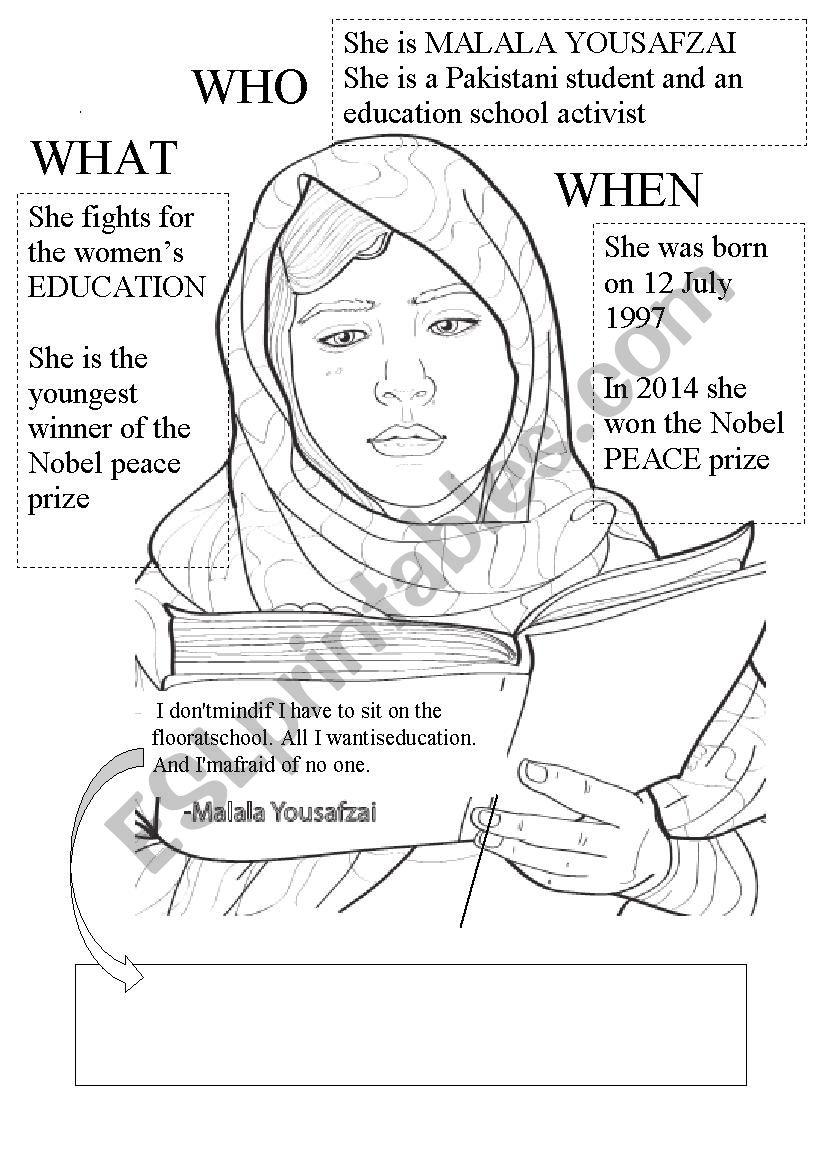 Malala Yousafzai worksheet