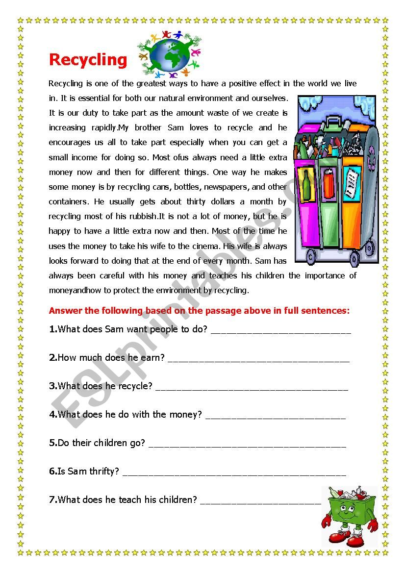 Recycling worksheet