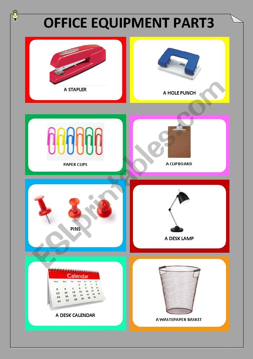 Office equipment Part 3 worksheet