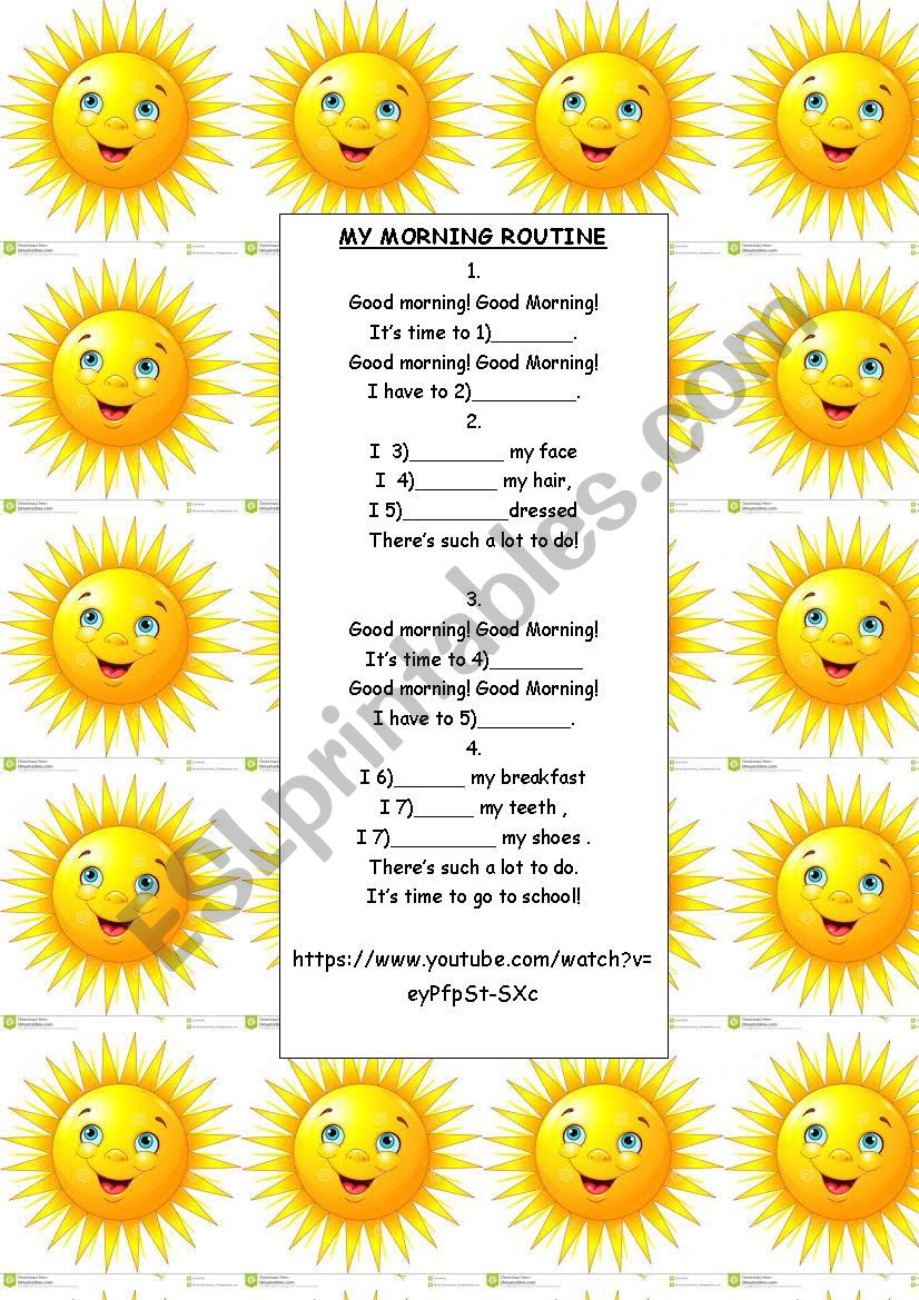Daily routines song  worksheet