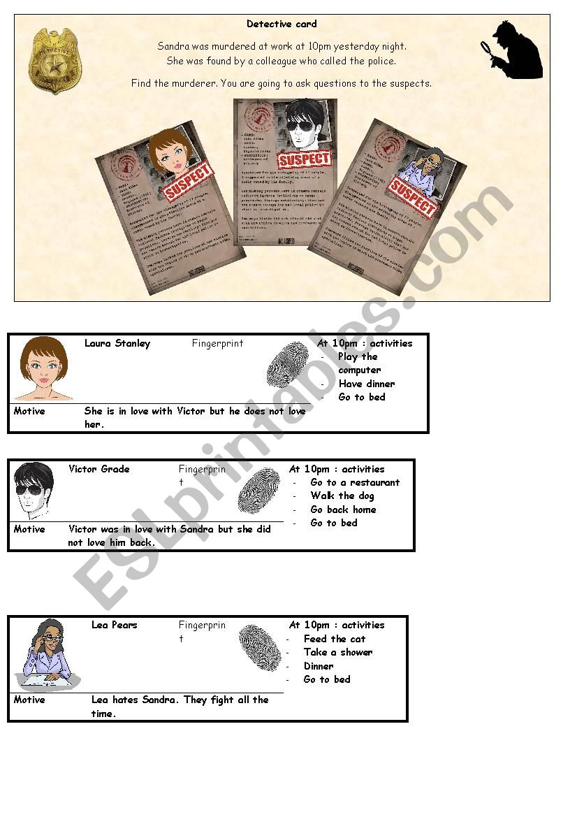 Detective - conversation card - solve a murder part 2