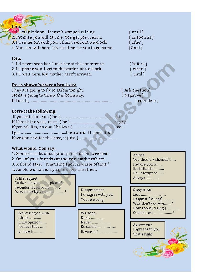 grammer worksheet