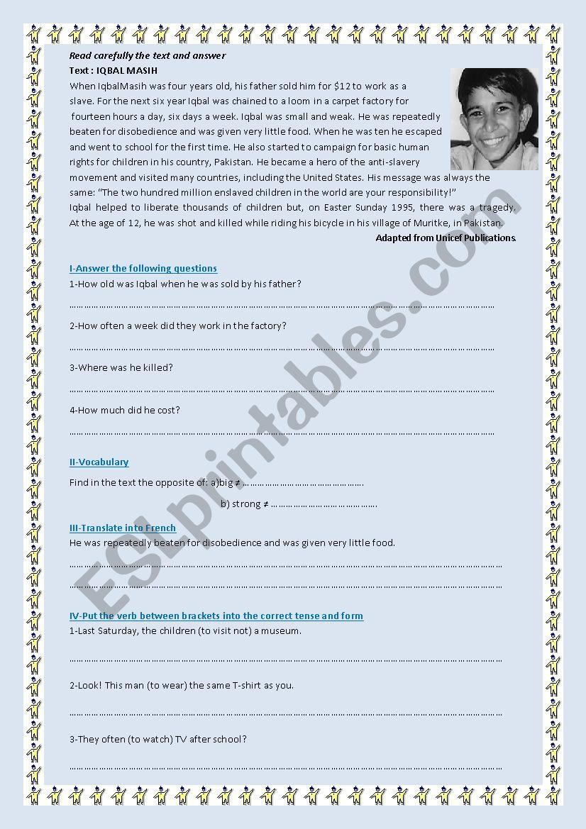 Text about Iqbal Masih worksheet