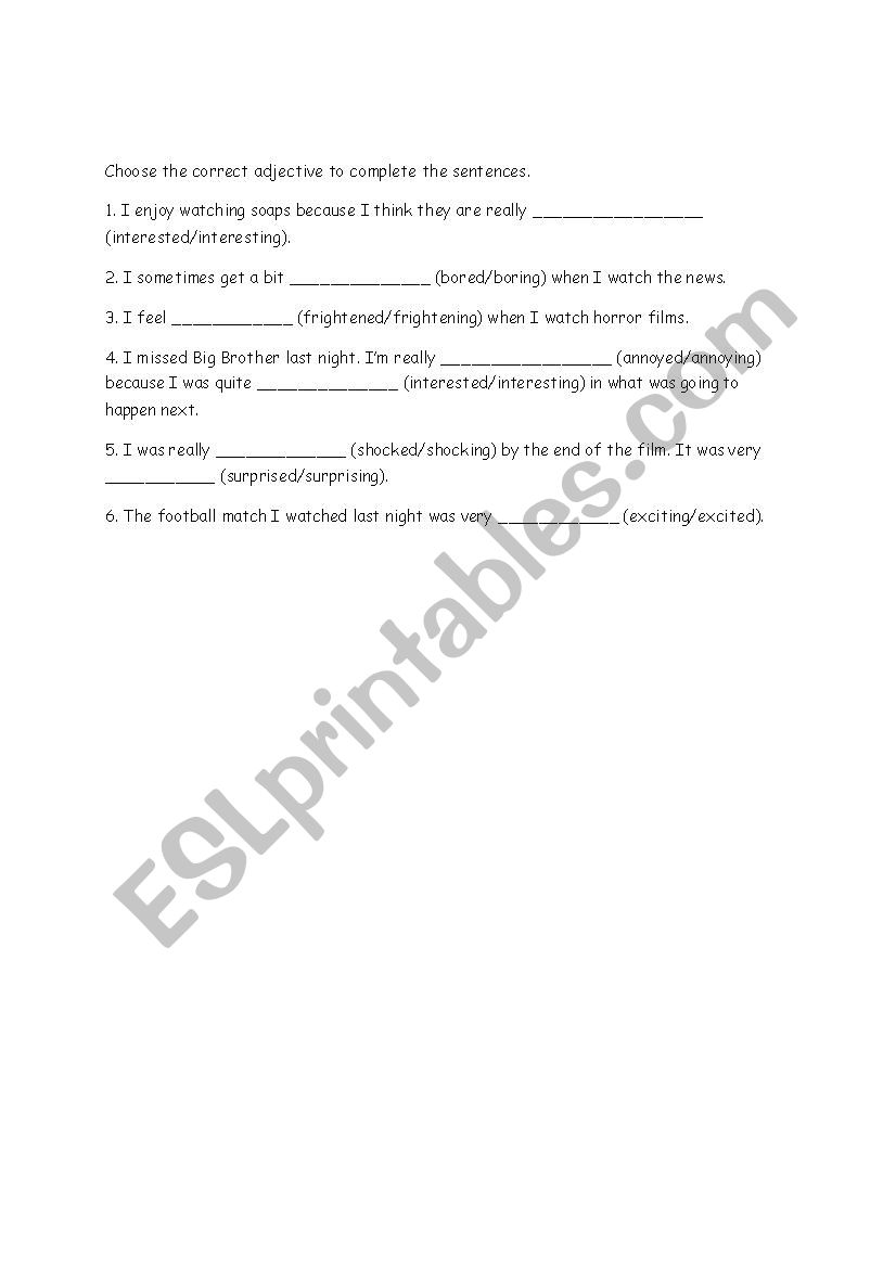 exercise about adjective  worksheet