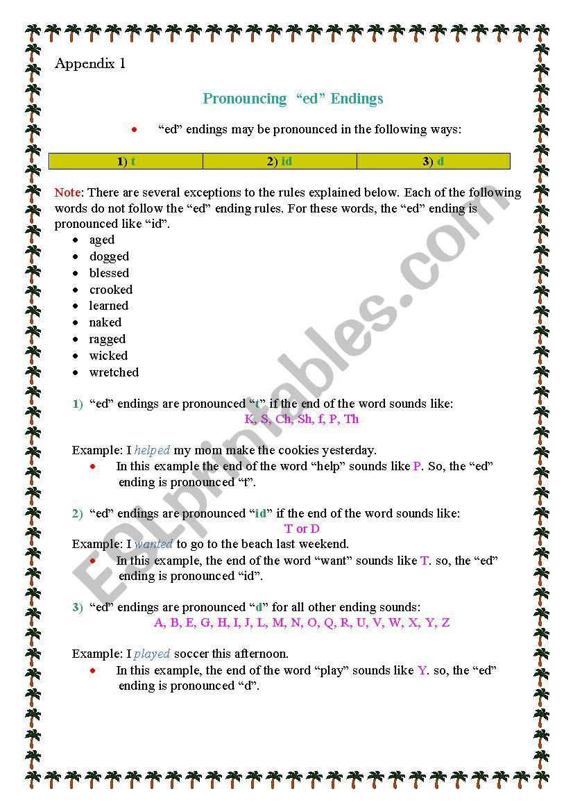 Pronunciation Ed Endings Esl Worksheet By Krinela