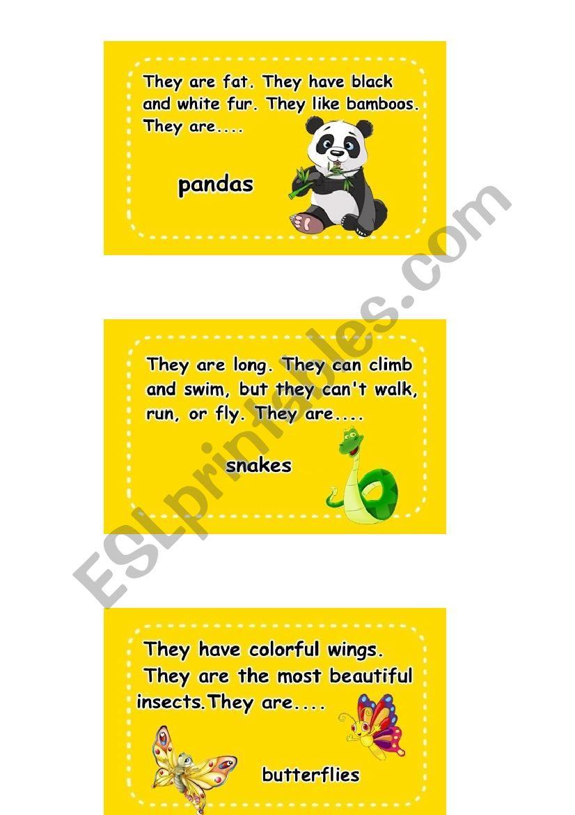 Animal Activity Cards worksheet