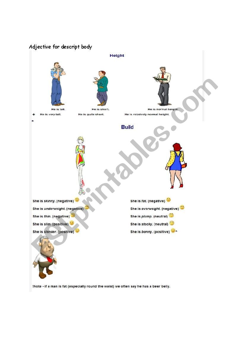 Adjective for body worksheet