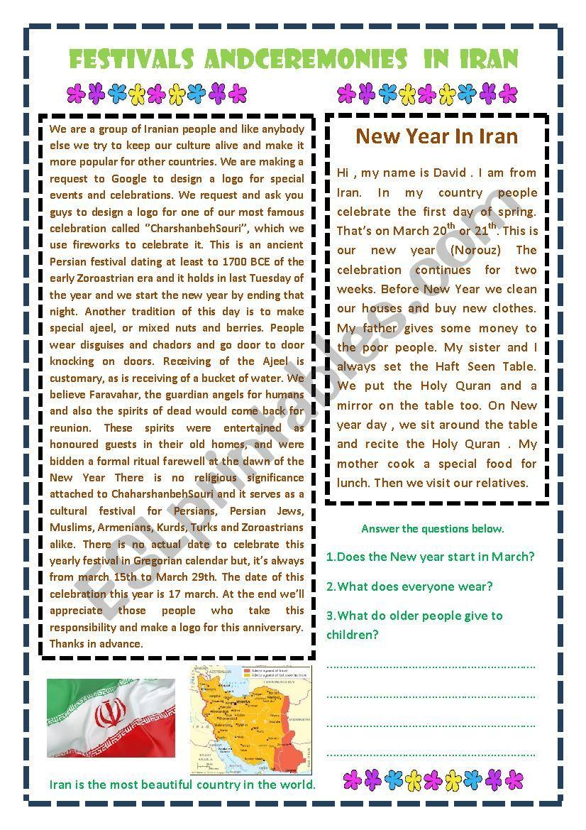 New Year in IRAN worksheet