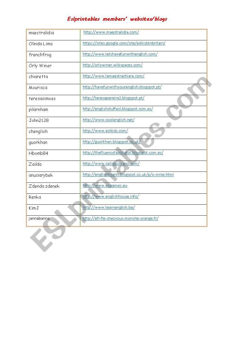 Eslprintables members´ websites and blogs
