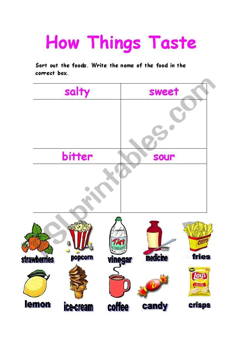 How Things Taste ? worksheet