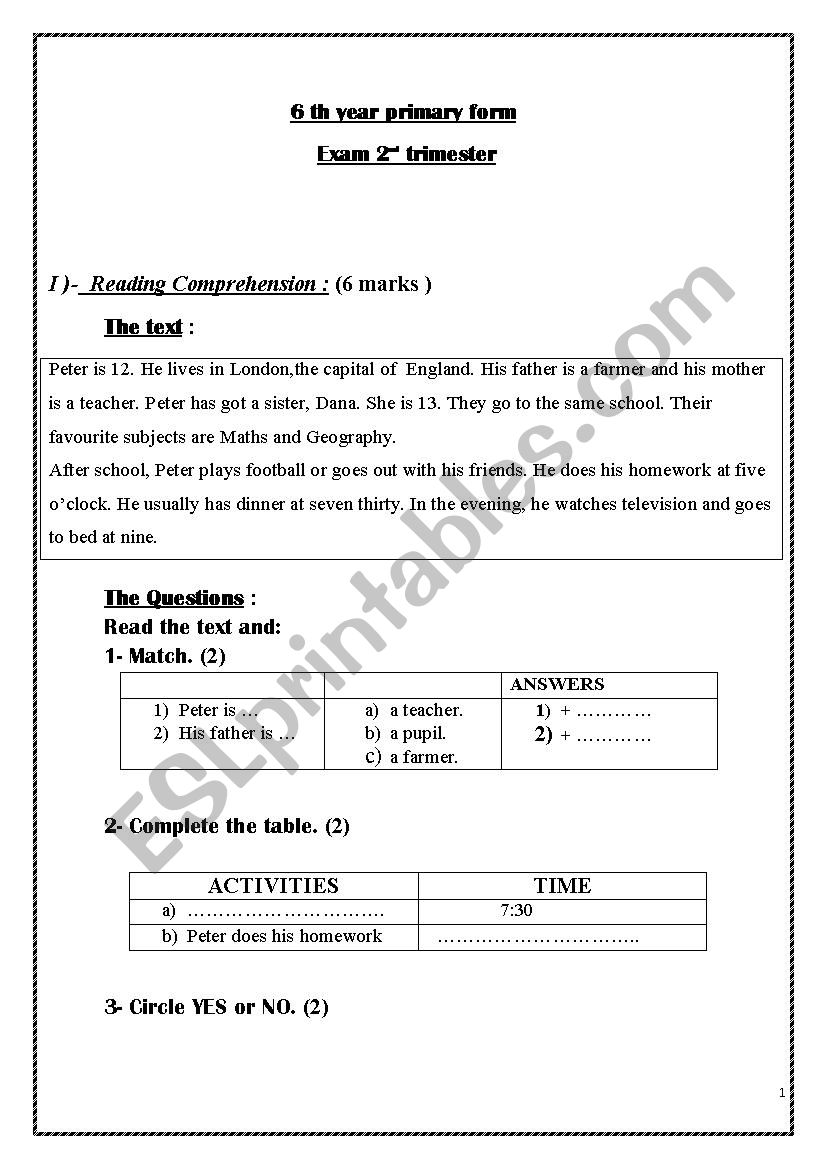 2 nd trimester exam for 6th year basic form
