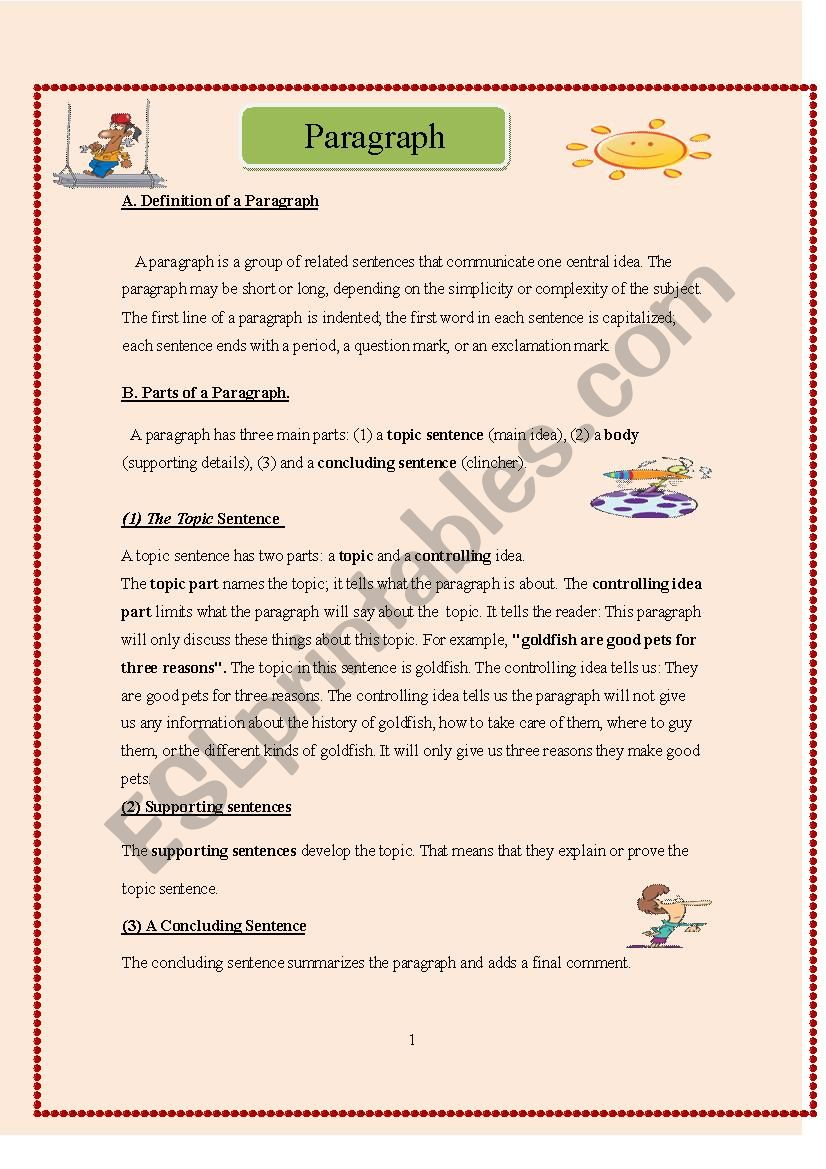 Paragraph Structure Definitions And Exercises ESL