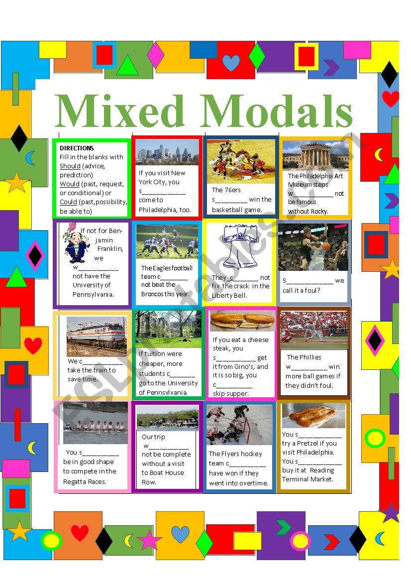 Should, Would, Could--Mixed Modals Practice