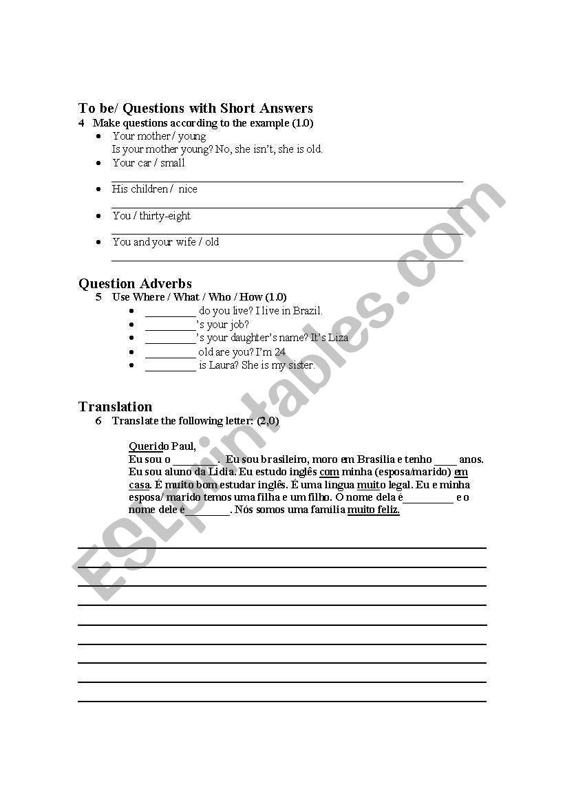 Elementary Level - Test 1 - ESL worksheet by lidiadiniz