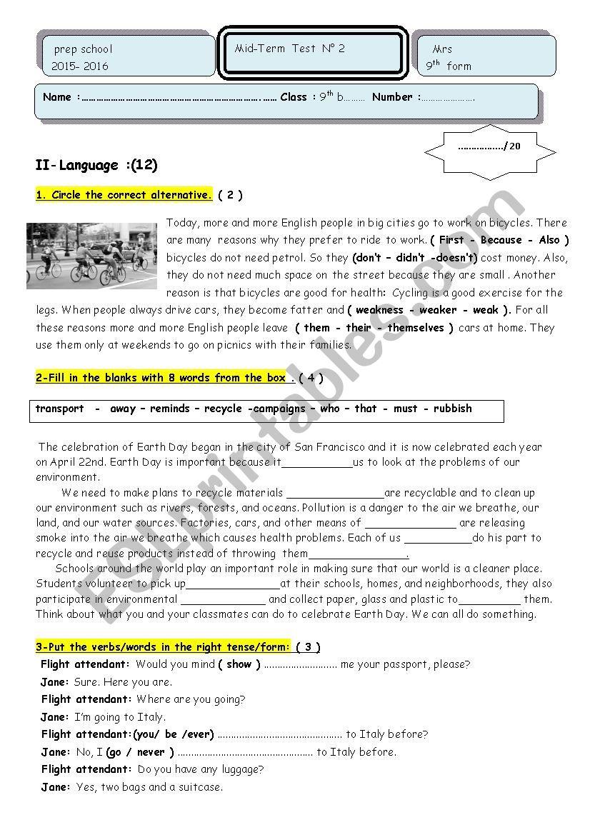 Mid-term test n° 2 9 th grade worksheet